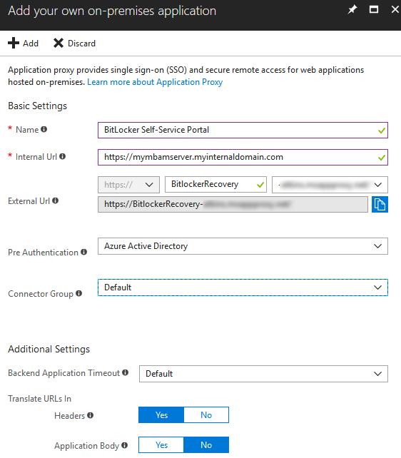 BitLocker Self-Service via Azure Application Proxy – Modern